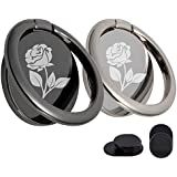 KETIA Phone Ring Stand Holder & Hook Mount Accessories -[2 Pack] -Rose Pattern-Enhancing adsorption Capacity-360°Rotation 180°Flip Cell Phone Finger Kickstand -Fit Magnetic Car Mount-Black+Silver