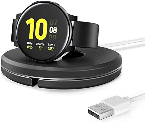 QSACE Charging Stand for Samsung Watch [Included Charger], Foldable Desktop Vertical Magnetic Wireless Charging Station Compatible with Samsung Galaxy Watch 3 and Active/Active2 (Black)