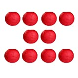 NUOLUX 10pcs Round Paper Lanterns Red 12-inch with Wire Ribbing