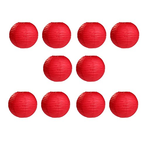 10pcs 10-inch Round Paper Lanterns with Wire Ribbing (Red) - 1
