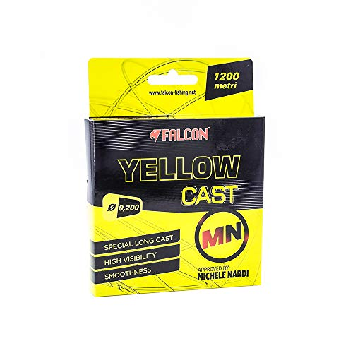 Falcon Nylon Persicus Yellow Cast Mn, 300 m x 0.200 mm Fishing Wire, Light Yellow, 0.2