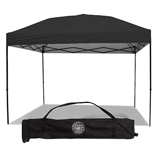 - Punchau Pop Up Canopy Tent 10 x 10 Feet, Black - UV Coated, Straight Leg, Waterproof Instant Outdoor Gazebo Tent, Bonus Roller Carry Bag