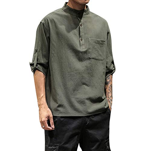 JJLIKER Mens 3/4 Sleeve Henley Shirt Loose Fit Tops Classic Solid Casual Summer Beach T Shirt Tops Army Green