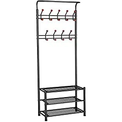Yaheetech Metal Entryway 18 Hooks Coat Rack with 3-Tier Shoe Rack Bench Hat Umbrella Stand (Black)