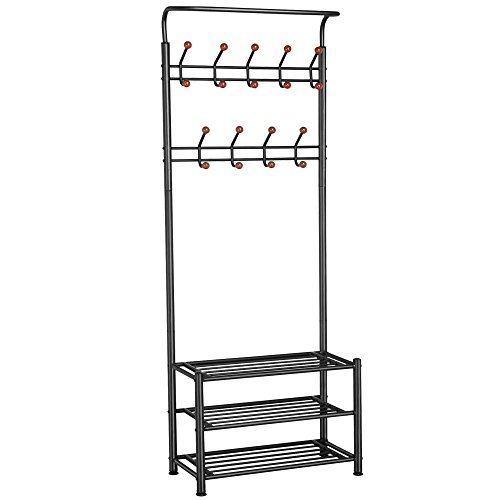 Coat Shoe Racks - Yaheetech Metal Entryway 18 Hooks Coat Rack with 3-Tier Shoe Rack Bench Hat Umbrella Stand (Black)