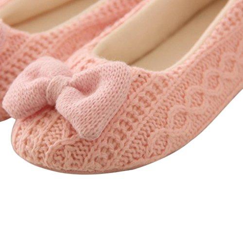 Yoga Caldo Pantofole Donna Donne Vovotrade® Scarpe Rosa Bowknot Cashmere ST77wq