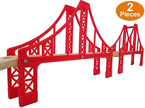 Double Suspension Bridge - Deluxe Wooden Toy Accessories for Kids Toddler Boys Girls - Compatible with Thomas Trains Railway, Brio Tracks, and Major Brands. 2X Red Bridges