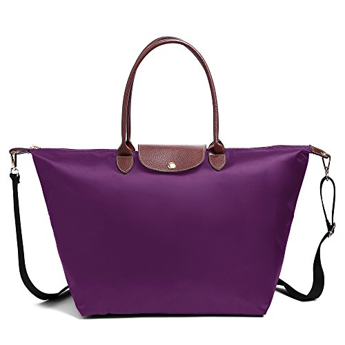 Fashion Nylon With Bag with Strap Bag Tote Waterproof Shoulder Strap Women Shoulder Beach BEKILOLE Shoulder Purple aqXwp5x