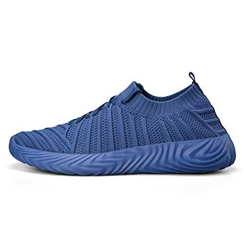 ZOCAVIA Running Shoes for Women Slip On Fly Knit Tennis Walking Gym Sneakers Blue 9