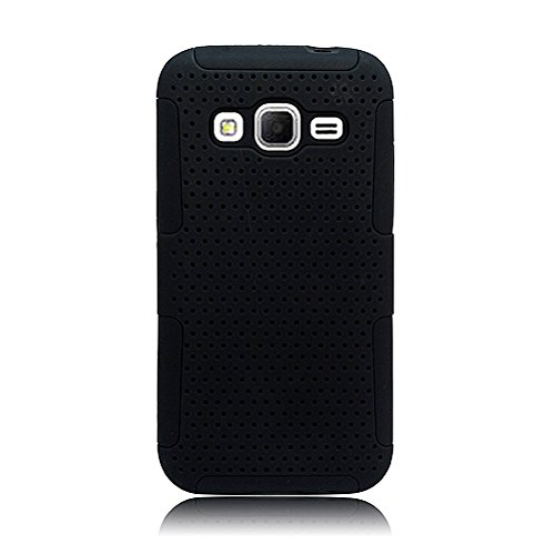 Eagle Cell Hybrid TPU Mesh Net Case for Samsung Galaxy Core Prime G360P - Retail Packaging - Black/Black (Pattern Grade Ribbed)