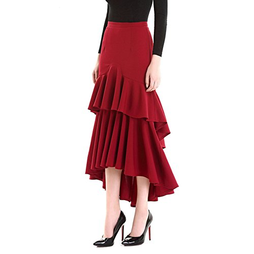 YSJERA Women's High Waist A-Line Pleated Maxi Skirts Party Swing Skirt with Pockets (12, C Burgundy)