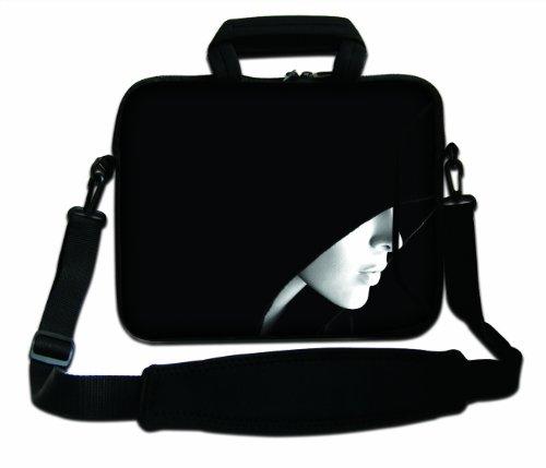 Luxburg® Design Funda bandolera Blanda Bolso Sleeve para Ordenador Portátil / MacBook de 17,3 pulgadas, motivo: Peces de colores Mujer con capucha