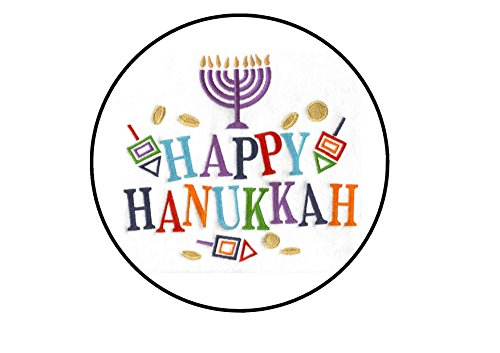 "Happy Hanukkah, 7"" Edible PREMIUM THICKNESS SWEETENED VANILL"