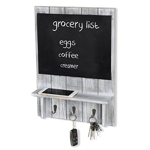 MyGift Rustic Wood Wall-Mounted Organizer with Chalkboard, S