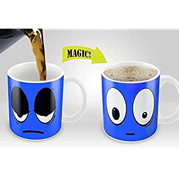 Moddan Magic Coffee Mugs Cup Ceramic Heat Sensitive Color Changing Mug - Blue Wake Up Funny Coffee Mug Gift