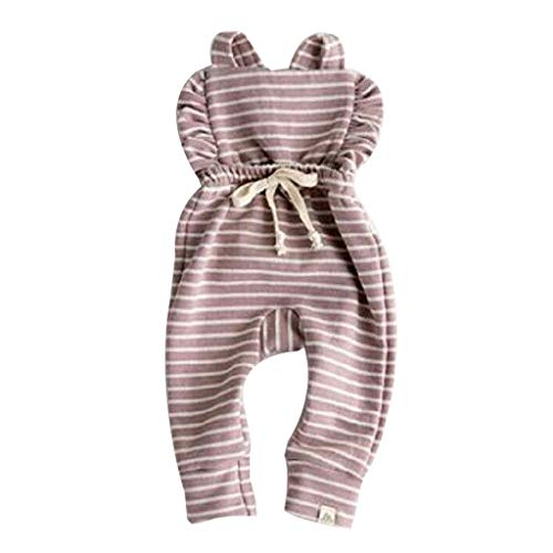 WOCACHI Newborn Baby Girls Jumpsuits Bowknot Suspender Backless Striped Ruffle Romper Overalls Outfits Clothes Sunsuit Onesies 2019 Pajama Daughter Best Sleepwear Nightwear -
