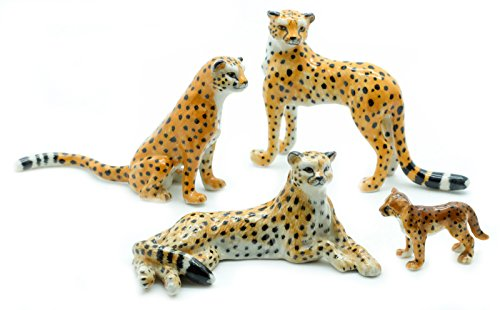 Animal Miniature Handmade Porcelain Statue Cheetah Family Set Figurine Collectibles Gift