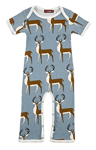 Milkbarn Organic Cotton Short Sleeve Romper (Blue Deer, 6-12 -