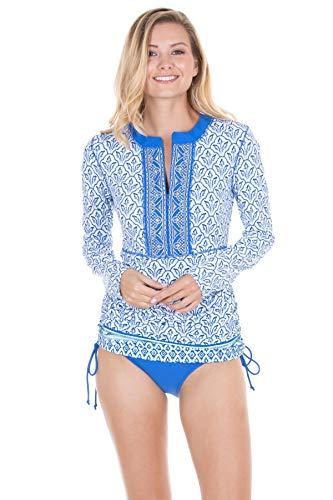 Cabana Life Women's Adjustable Long Sleeve Rashguard Blue/Green/White ()