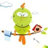 I-Mart Newest Indoor / Outdoor DIY Creative Green Still Stickers Wall Clock Modern Design -Contemporary Abstract Wall Clock - Numbers - Lovely Owl Bird Home Decor 3D Clock