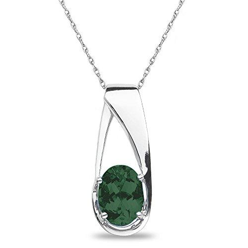 10k White Gold Mens Emerald - 2