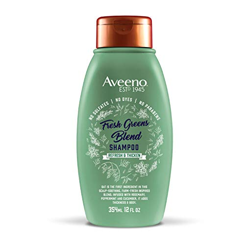 Aveeno Scalp Soothing Fresh Greens Blend Shampoo for Volume, Thickness and Refresh, Sulfate Free Shampoo, No Dyes or Parabens, 12 fl. oz