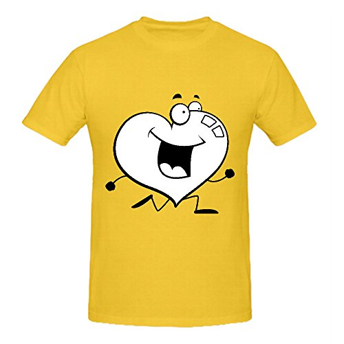 A Cartoon Red Heart Running and Smiling Mens T Shirts Design Yellow Art