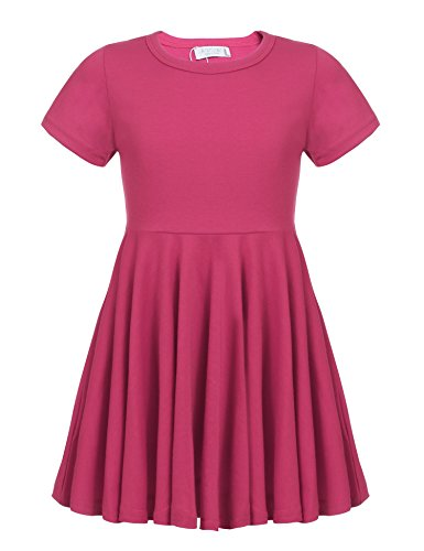 Arshiner Girls' Cotton Long Sleeve Twirly Skater Party Dress,Rose Red_short Sleeve,100(Age for 5-6 Y)