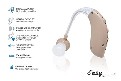 Beige Color,New behind-the-ear (BTE) Digital Hearing Ear Amplifier Kit By EASYUSLIFE, Rechargeable and Interchangeable, Adjustable Volume Control, Suitable For Men and Women by EASYUSLIFE (Image #4)
