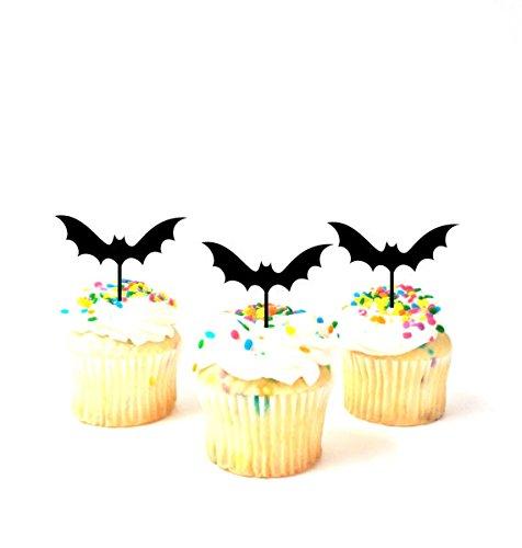 Set of 12 Bat Cupcake Toppers Bats Halloween Cupcake Toppers Silhouette Cupcake toppers Halloween Party Halloween Cake Halloween Decor