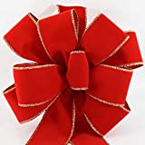 """mantel christmas decorations 12 Red Gold Christmas Bows ($7.50 each) FREE SHIPPING Red Velvet Gold Wired Edge Christmas Bow 10""""W 26""""L 8 Loops #40 Ribbon Indoor Outdoor Decoration for Wreath Tree Topper Bow Ships Fluffy Not Flat"""