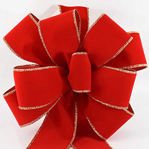 (12 Premium Red Velvet Gold Wired Edge Christmas Bows (10 inches Wide, 26 inches Long, 20 inch Tails, 8 Loops, Center Loop, 2.5 inch Ribbon) Indoor Outdoor Handmade Decoration Arrives Fluffy Not Flat.)