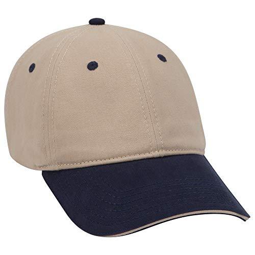 OTTO Garment Washed Cotton Twill Sandwich Visor 6 Panel Low Profile Dad Hat - - Sandwich Panel