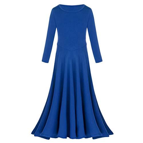 (IBTOM CASTLE Kids Baby Girls Cotton Long Sleeve Praise Liturgical Loose Fit Full Length Lyrical Dance Dress Ballet Dancewear Inspired Pullover Costume Royal Blue 3-4 Years)
