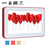 Soulaca 10.6'' Sauna Wall Mounted Water-Resistant Red Frame Small LED IP66 Waterproof TV