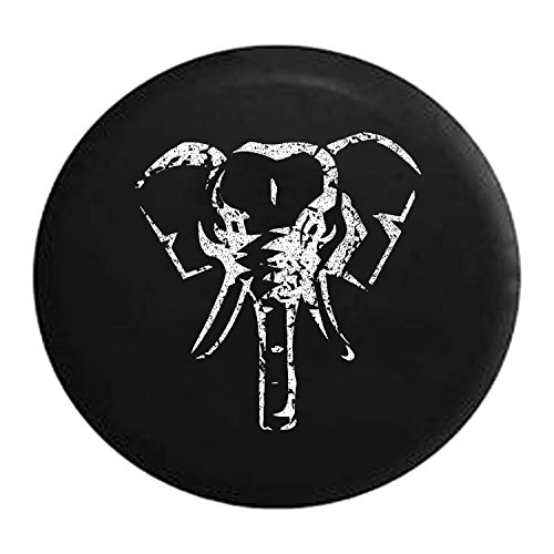 Distressed - Spare Tire Cover African Safari Elephant Trailer 32 Inch