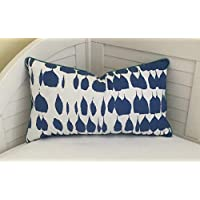 Athena Bacon Schumacher Queen ofain in Water Both Sides Designer Pillowcase Cover with Mini Turquoise Piping 14x24 Lumbar Size