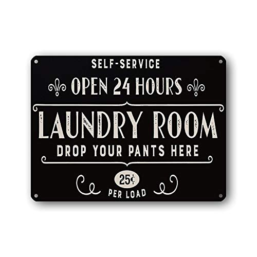 Goutoports Laundry Room Vintage Decor Open 24 Hours Black Decorative Signs Wash Room Home Decor Bathroom Wall Signs 7…