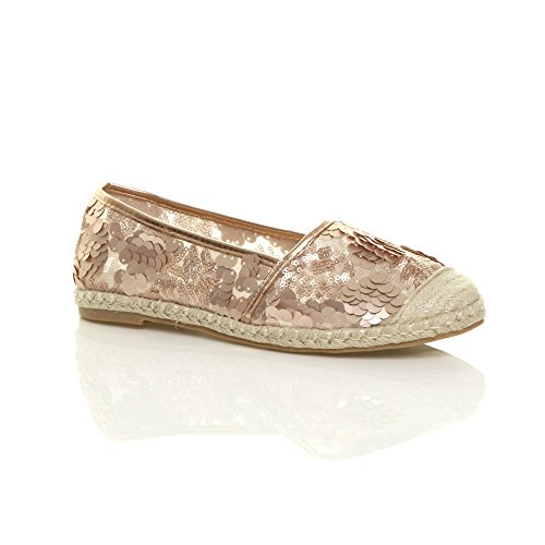 Ajvani Womens Ladies Flat Sequin mesh Sparkly Ballerina Dolly Espadrilles Shoes Size Rose Gold