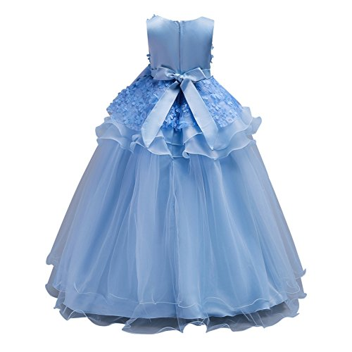 Amazon.com: MiyaSudy Big Girl Sleeveless Ruffles Bowknow Tulle Flowers Wedding Party Gown Girls Dress: Clothing