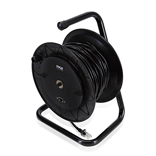 Pyle Heavy Duty Extension Cable Reel - Portable 83 ft Electrical Power Cord Industrial Grade Cat 5 with Male & Female RJ45 Connector Retractable Wire - Outdoor Office & Professional Used PCATCBL75 by Pyle