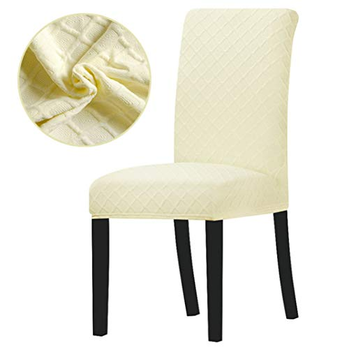 BERTERI Cream Knitting Fabric Chair Cover Elastic Stretch Chiar Slipcovers for Banquet Hotel Home Dining Room Office - Cream Knitting
