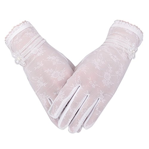 Women's UV Protection Sun Driving Gloves Lace Touch Screen Non-Skid (White)]()