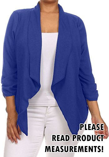 Womens Plus Size Semi-Sheer Blazer Asymmetrical Open Front Fold Over Lapel Jacket (1x, Royal)