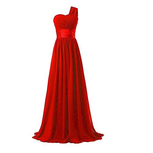 Para Ceremonia Rojo vestido Elegante Boda Sección Gasa De Mujer Larga Ctooo FnUqExTn