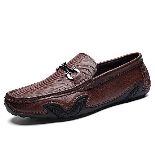 lumière marron 38 EU MXLTiandao Slip on Style Driving Loafer pour Hommes Bateau Mocassins Ox Cuir Personnalité Poulpe Texture Metaldecor Mocassins (Couleur   lumière marron, Taille   38 EU)