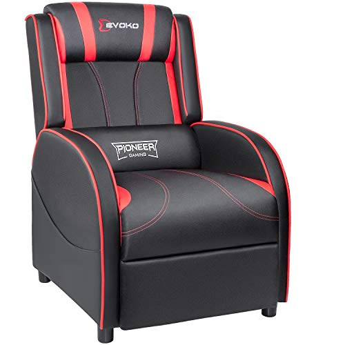 Devoko Gaming Recliner Chair PU Leather Home Theater Seating Single Modern Living Room Sofa Recliners (Red)