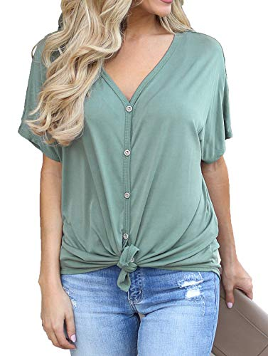 Allimy Summer Tops for Women Juniors Short Sleeve V Neck Tunic Blouses Fashion 2019 Olive Small