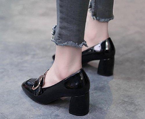 2017 zapatos nuevos solos zapatos de hebilla cuadrada cuadrada de tacón alto con los zapatos ocasionales gruesas Black