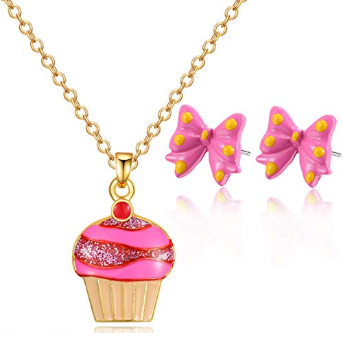 Enamel Cupcake - Cupcake Pendant Necklace set,14K Gold Plated Enamel Colors with earrings Set for Teen Girls, Christmas Advent Gift Necklace